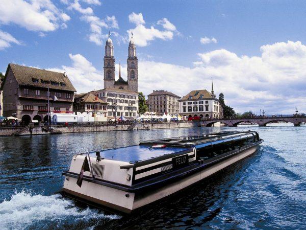 Switzerland-Zurich-Limmat-River-and-Boat